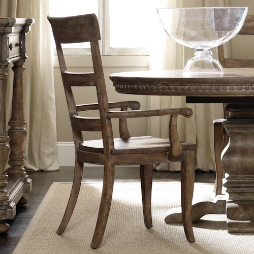 Hooker Furniture Sorella Ladderback Dining Arm Chair with Contoured Wooden Seat