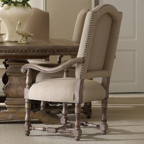 Hooker Furniture Sorella Upholstered Dining Arm Chair with Scrolled Armrests, Turned Stretcher and Nailhead Trim