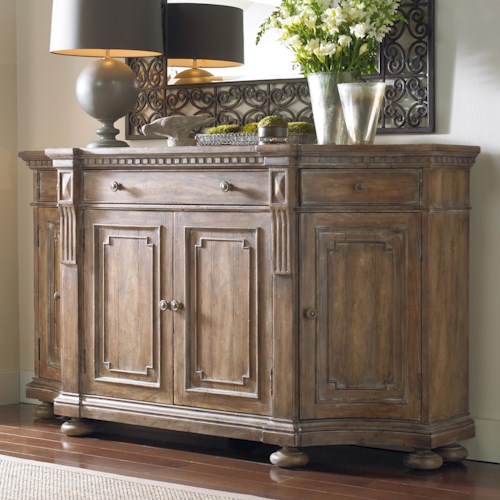 Hooker Furniture Sorella Shaped Credenza with Concave Side Doors, Decorative Panels and Wooden Knob Pull Hardware