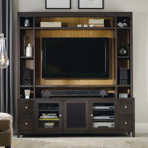 Hooker Furniture South Park 3 Door Entertainment Console with Hutch