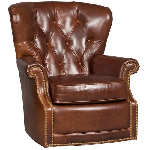 Hooker Furniture SS304 Traditional Button Tufted Swivel Chair with Nailheads
