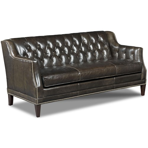Hooker Furniture SS355 Leather Stationary Sofa with Track Arm and Tufted Back