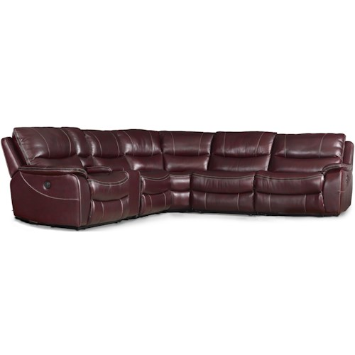 Hooker Furniture SS624 6 Piece Power Reclining Sectional with USB Console