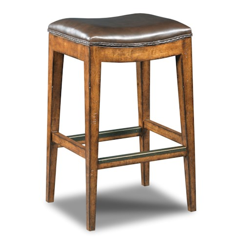 Hooker Furniture Stools Medium Sangria Rec Backless Barstool with Leather Seat