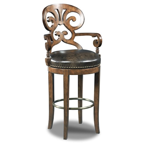 Hooker Furniture Stools Dark Jameson Traditional Leather Swivel Barstool