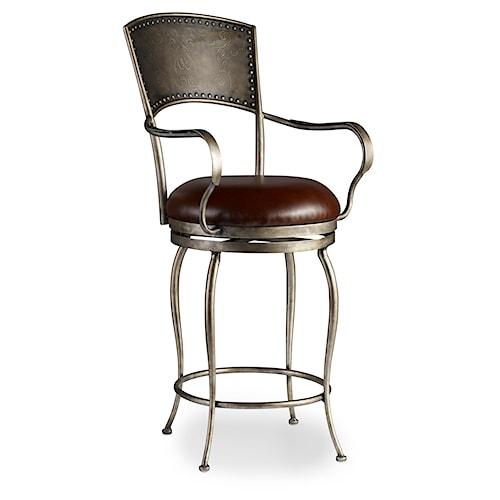 Hooker Furniture Stools Medium Metal Barstool with Leather Seat and Nailhead
