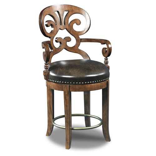 Hooker Furniture Stools Dark Jameson Traditional Leather Swivel Counter Stool