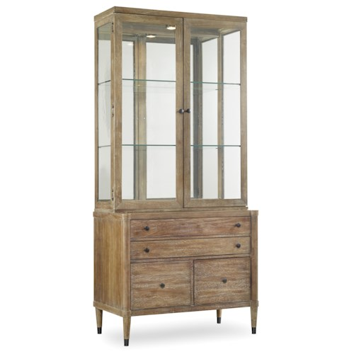 Hooker Furniture Studio 7H Display Cabinet with Utility Credenza and Lighted Hutch