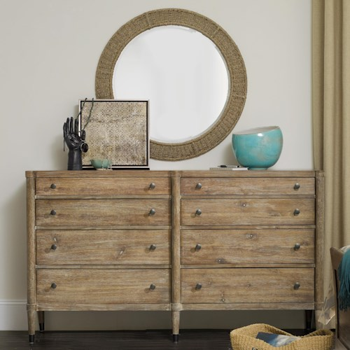 Hooker Furniture Studio 7H Annika Dresser and Harmony Mirror Set with 8 Drawers