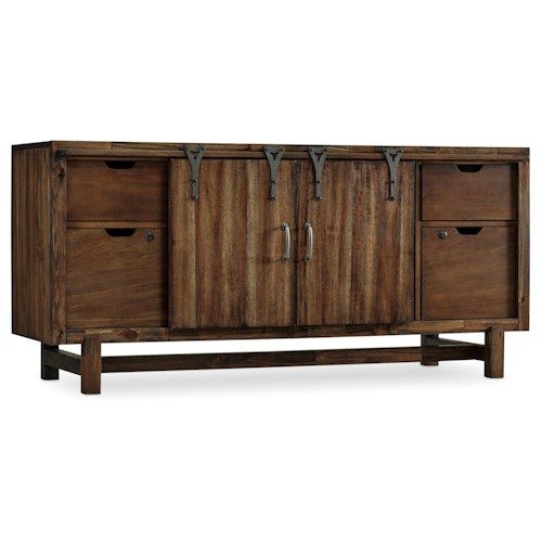 Hooker Furniture Studio 7H Glide Entertainment Center with Farmhouse Style Doors