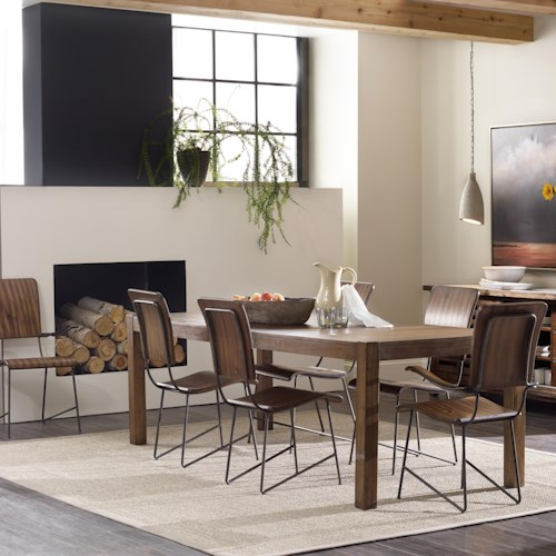 Hooker Furniture Studio 7H 7 Piece Dining Set with Farm-To-Table Rectangular Table and Vibe Bentwood Chairs