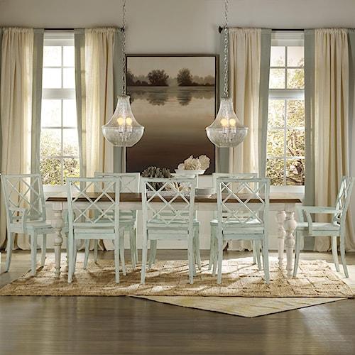 Hooker Furniture Sunset Point Casual Cottage Coastal 9 Piece Table – Coastal Dining Room Set