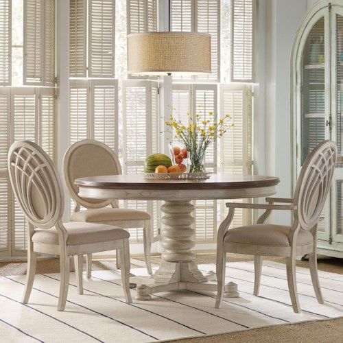 Hooker Furniture Sunset Point Casual Cottage Coastal 5 Piece Pedestal Dining Set with Pedestal Base