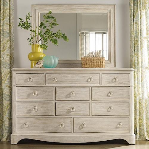 Hooker Furniture Sunset Point Casual Cottage Coastal 11 Drawer Dresser & Mirror Set