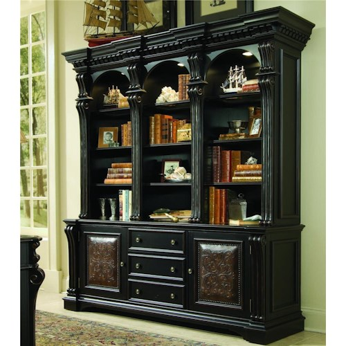 Hooker Furniture Telluride Bookcase Base &  Hutch with Nail Head Trim