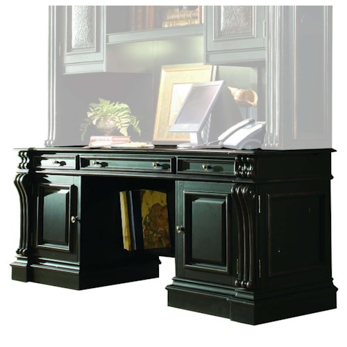 Hooker Furniture Telluride Traditional Computer Credenza with Thickly Reeded Pilasters