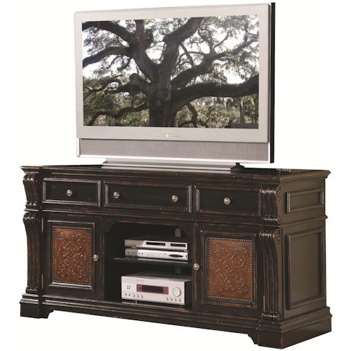 Hooker Furniture Telluride Entertainment Console with Two Wraparound Doors & Center Open Component Section