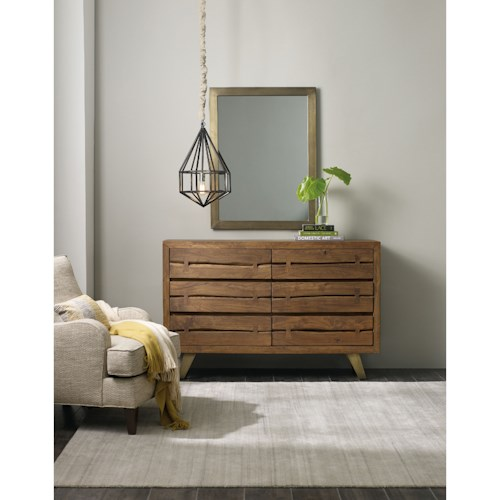 Hooker Furniture Transcend Contemporary 6 Drawer Dresser and Mirror