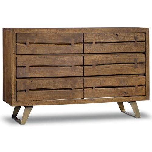 Hooker Furniture Transcend 6 Drawer Dresser with Metal Base