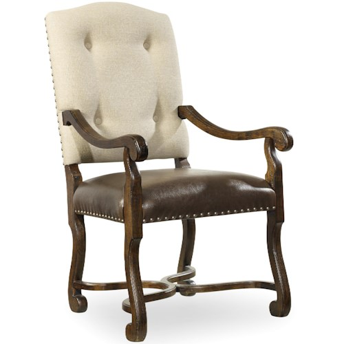 Hooker Furniture Treviso Camelback Arm Chair with Tufted Back
