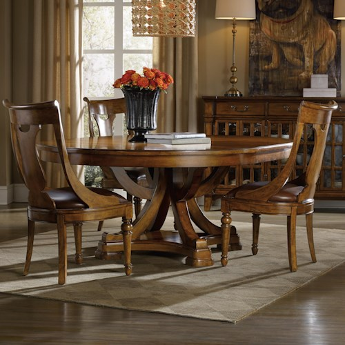 Hooker Furniture Tynecastle Traditional 5 Piece Table and Chair Set