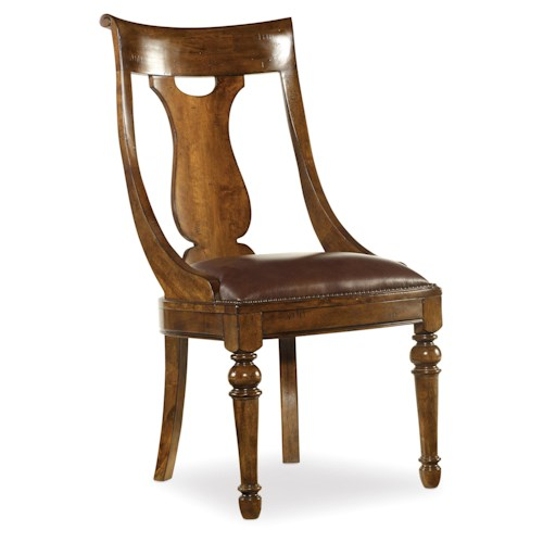 Hooker Furniture Tynecastle Leather Upholstered Traditional Dining Side Chair