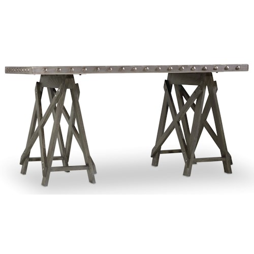 Hooker Furniture Vintage West Accent Desk with Sawhorse Pedestals