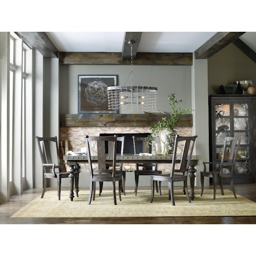 Hooker Furniture Vintage West 7 Piece Dining Table Set with Splat Back Chairs and Aluminum Table Top