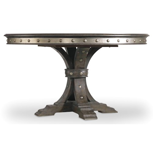 Hooker Furniture Vintage West Round Single Pedestal Dining Table with Decorative Nailhead Trim