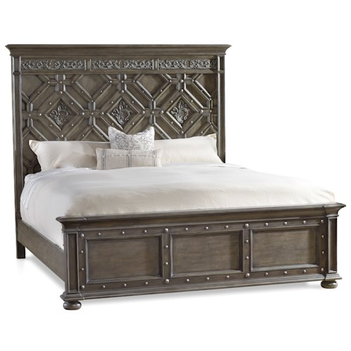 Hooker Furniture Vintage West California King Wood Panel Bed with Detailed Headboard