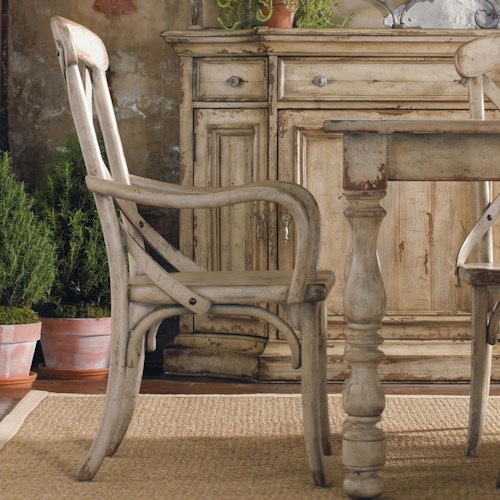 Hooker Furniture Wakefield X Back Distressed White Dining Arm Chair
