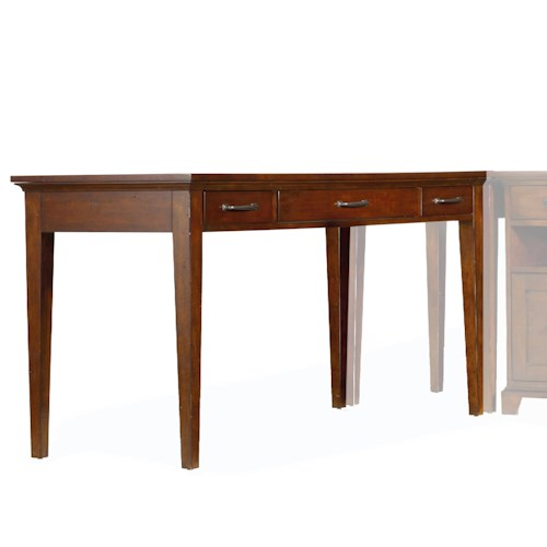 Hooker Furniture Wendover Basic Leg Desk with Drop Front Keyboard Drawer and 2 Utility Drawers