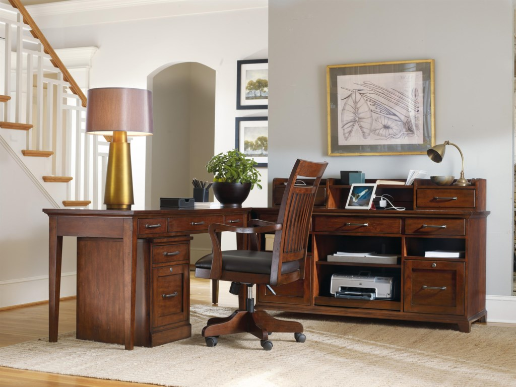 Shown with Corner Unit, Computer Credenza, Smart Hutch, Mobile File and Tilt Swivel Chair