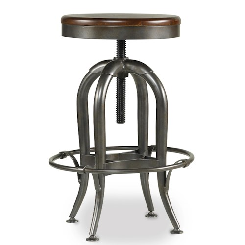 Hooker Furniture Wendover Backless Screw Lift Stool with Metal Frame and Wood Seat