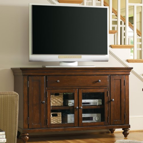 Hooker Furniture Wendover Four Door Entertainment Console with Drawer and Turned Feet