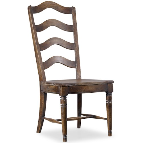 Hooker Furniture Willow Bend Ladderback Side Chair with Saddle Seat