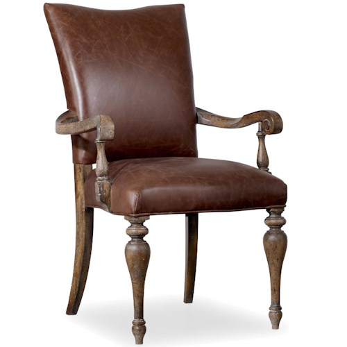 Hooker Furniture Willow Bend Upholstered Leather Arm Chair with Turned Legs