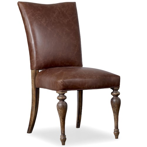 Hooker Furniture Willow Bend Upholstered Leather Side Chair with Turned Legs