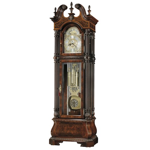Howard Miller Clocks J.H. Miller II Grandfather Clock with Three Carved Finials