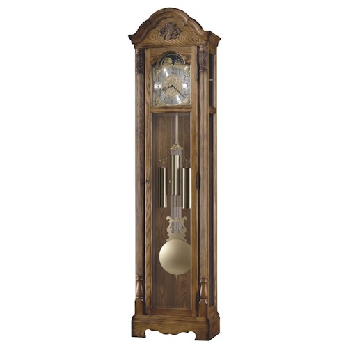 Howard Miller Clocks Calhoun Grandfather Clock with Arched Bonnet Pediment