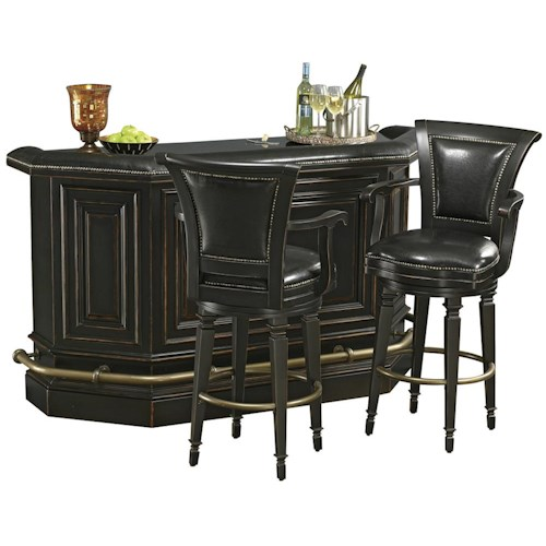 Howard Miller Northport Bar Set with 2 Black Leather Stools