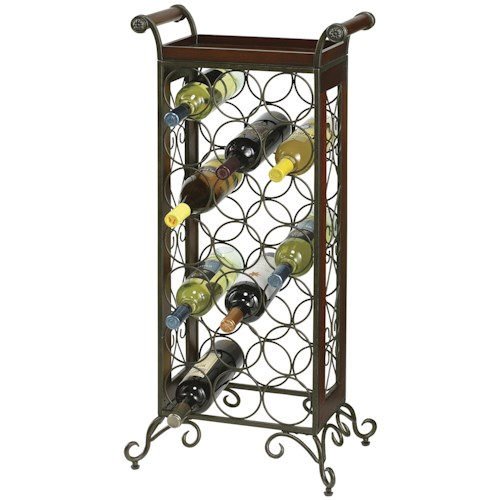 Howard Miller Wine & Bar Furnishings 21 Bottle Wine Butler with Tray Top