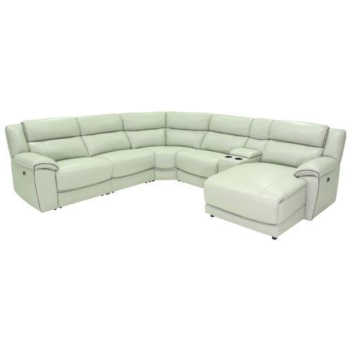 HTL 10490 Casual Power Reclining Sectional Sofa with Pillow Arms