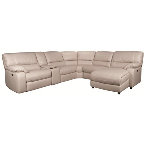 Morris Home Furnishings Xavier 6-Piece Power Leather-Match* Reclining Sectional