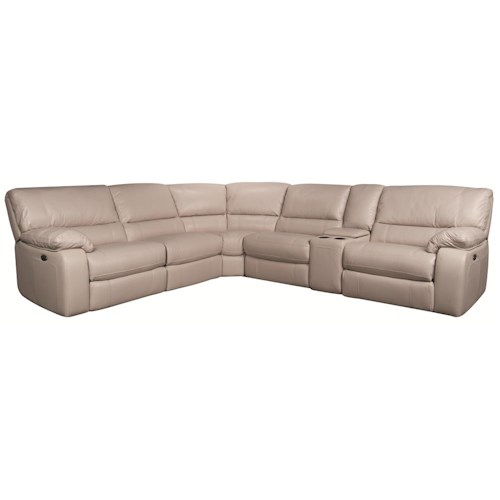 Morris Home Furnishings Xavier 6-Piece Power Leather-Match* Recl Sectional