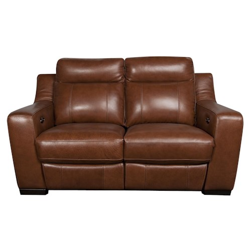Morris Home Furnishings Andy Leather-Match* Power Reclining Loveseat