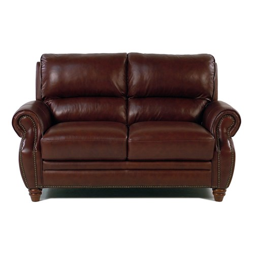 Giovani Barrister Traditional Leather Loveseat w/ Nailhead Tri