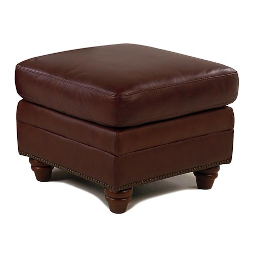 Giovani Barrister Traditional Leather Ottoman w/ Nailhead Trim