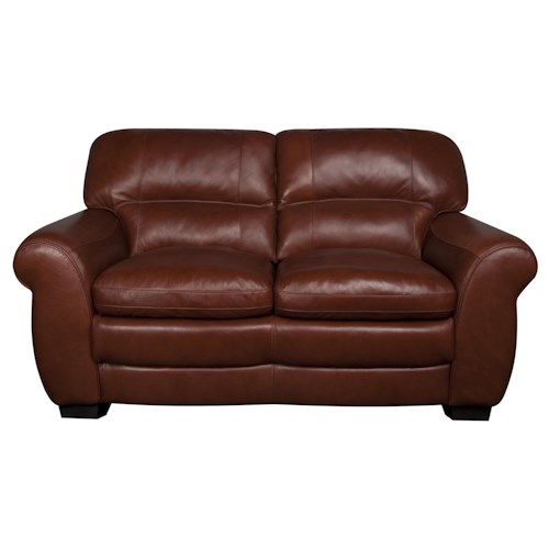Morris Home Furnishings Ellis 100% Leather Loveseat