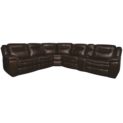 Morris Home Furnishings Heath 6-Piece Power Leather-Match* Sectional